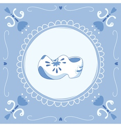 delft blue clogs vector image