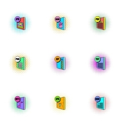 Document types icons set pop-art style vector