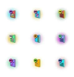 Document types icons set pop-art style vector
