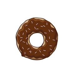 Donut with chocolate icing a cartoon donut vector