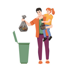 Dustbin father and daughter throw garbage in trash vector