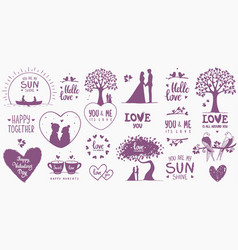 elements design valentines day vector image