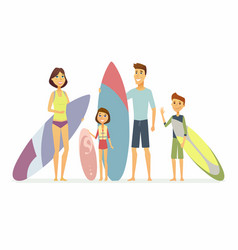 family goes surfing - cartoon people characters vector image
