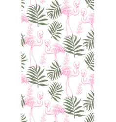 Flamingos and palm leaves seamless pattern vector