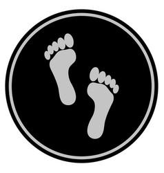 Footprints black coin vector