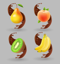 Fruit and chocolate splash realistic vector