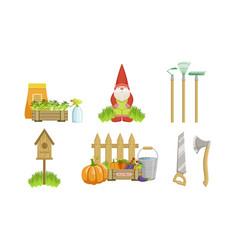 garden tools set gardening equipment vector image