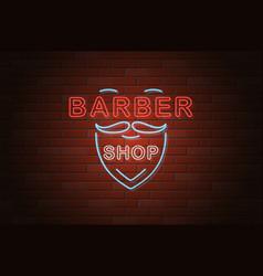 Glowing neon signboard barber shop on brick wall vector