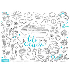 graphic set elements journey on a cruise ship vector image