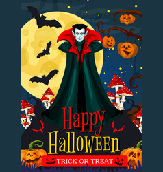 halloween night celebration banner with vampire vector image