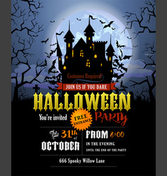 halloween party invitation with scary dracula vector image