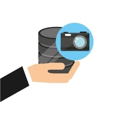 hand holds data photographic camera icon vector image