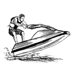 Hand sketch rider on a jet ski vector