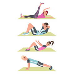 happy people in plank on mat lifting legs vector image