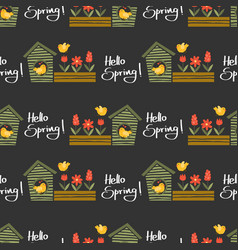 hello spring seamless pattern vector image