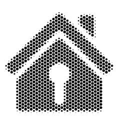 Hexagon halftone home keyhole icon vector