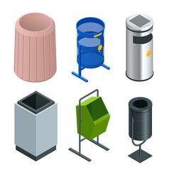 isometric set of metal basket bin for waste paper vector image