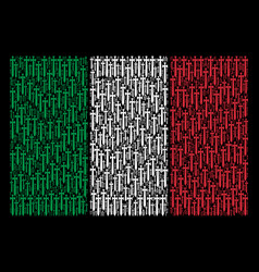 italian flag collage of medieval sword icons vector image