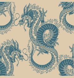 japanese dragon seamless pattern mythological vector image