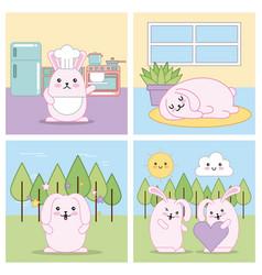 kawaii cartoon concept vector image