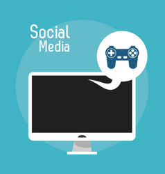 Laptop social media game control console vector