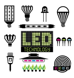 LED lighting icons set vector