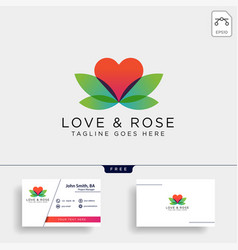 Love rose nature logo template icon element vector