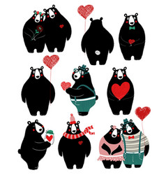 love set with single bear and couple vector image