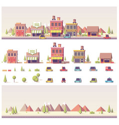 Low poly buildings and city scene vector