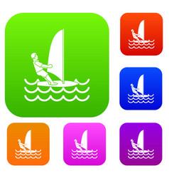 man on windsurf set collection vector image