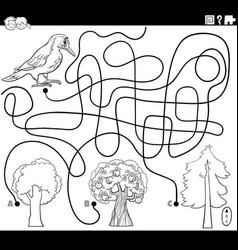 Maze with woodpecker and trees coloring page vector