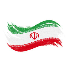 national flag of iran designed using brush vector image