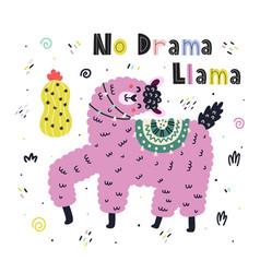 no drama llama funny print with hand drawn vector image
