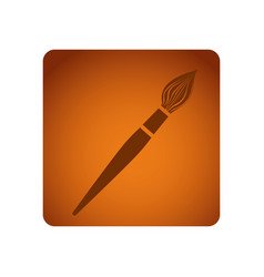 Orange emblem paint brush icon vector