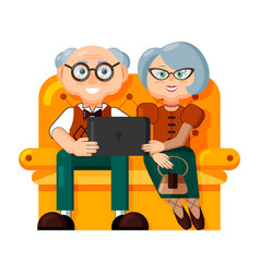 pair elegant elderly people are sitting on a vector image
