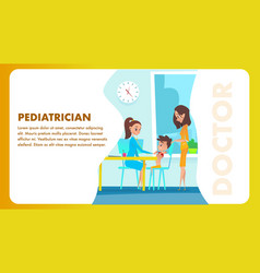 Pediatrician doctor examination banner vector