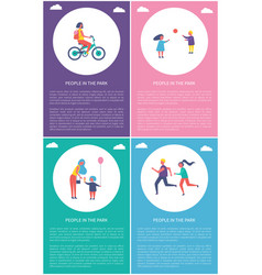People in park girl riding bike boy play ball vector
