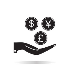 Pictograph of money in hand on white background vector