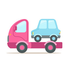 Pink tow truck service of evacuation colorful vector