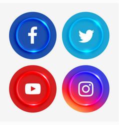 Popular social media logotypes buttons set vector