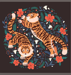 postcard with tigers and flowers on a dark vector image