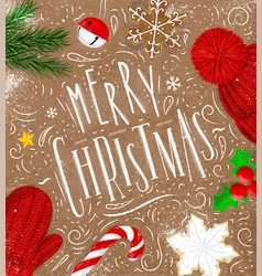 Poster merry christmas craft vector