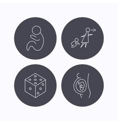 Pregnancy paediatrics and dice icons vector
