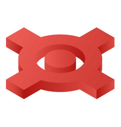 red crossing map icon isometric style vector image