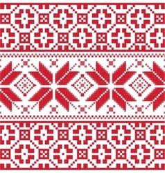 Red Scandinavian knitted pattern vector