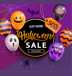 sale and discount banner for halloween vector image