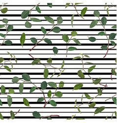 seamless pattern of green leaves and branches of vector image