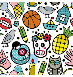 seamless pattern with doodle characters and vector image