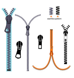 set fashion elements basic plastic zipper open vector image