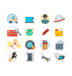 set of icons hacker attack internet security vector image